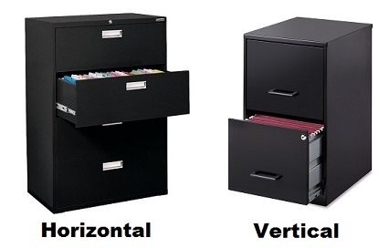 horizontal vs vertical file cabinet
